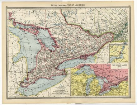 1907 Antique Map UPPER CANADA & St LAWRENCE Ontario LAKES HURON Erie SIMCOE